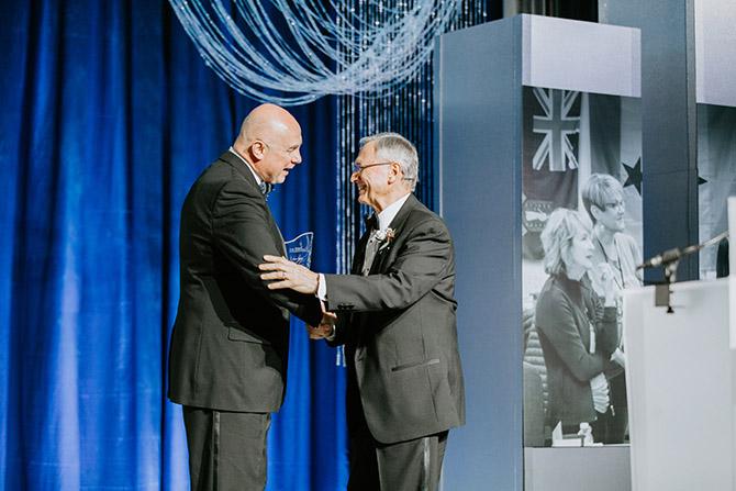 John Fiore accepting 2020 wegner award