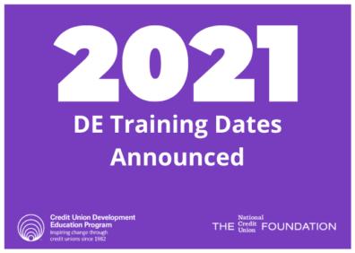 2021 de training dates announced
