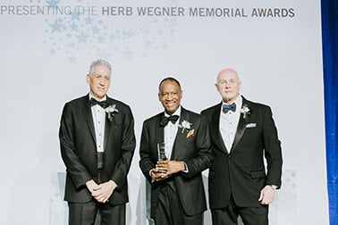 Maurice Smith accepting his wegner award