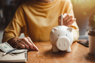 Person saving money