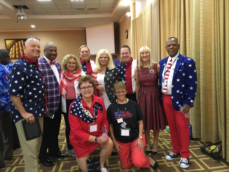 group of people with american flag attire