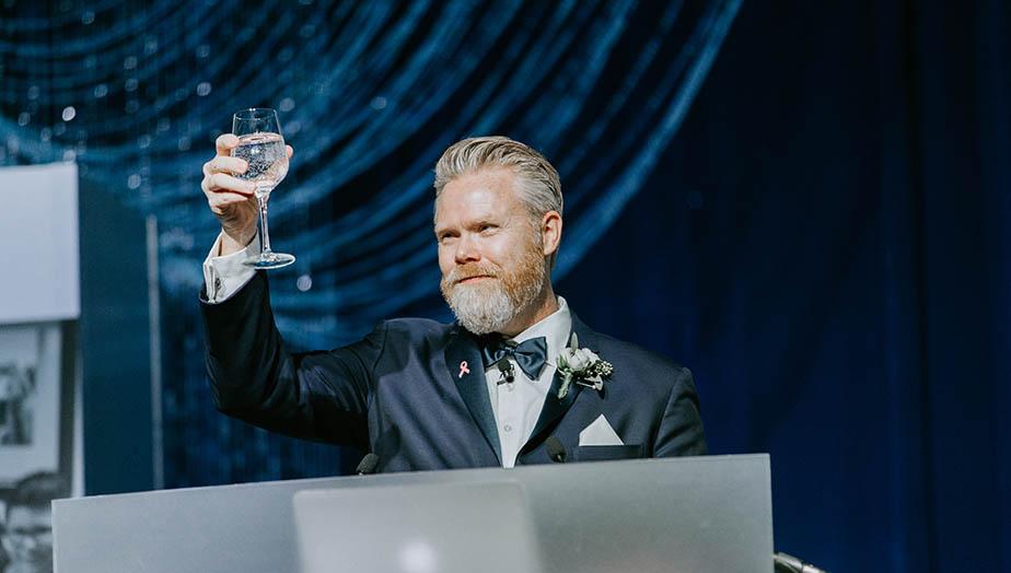 Andy janning raising a toast