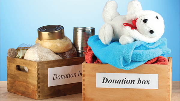 two boxes with donations