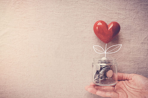 heart and a jar of money