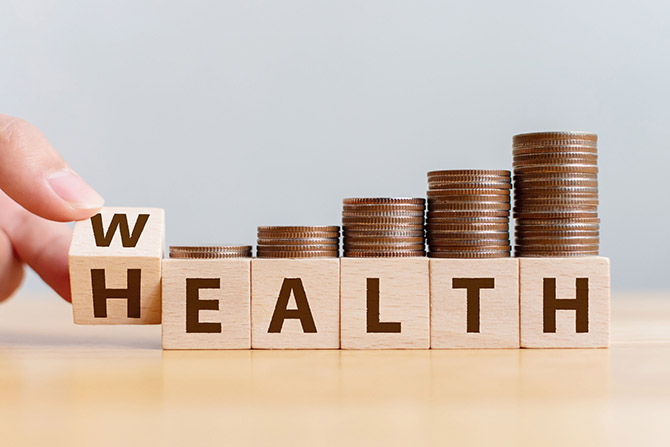 blcoks that say health and wealth