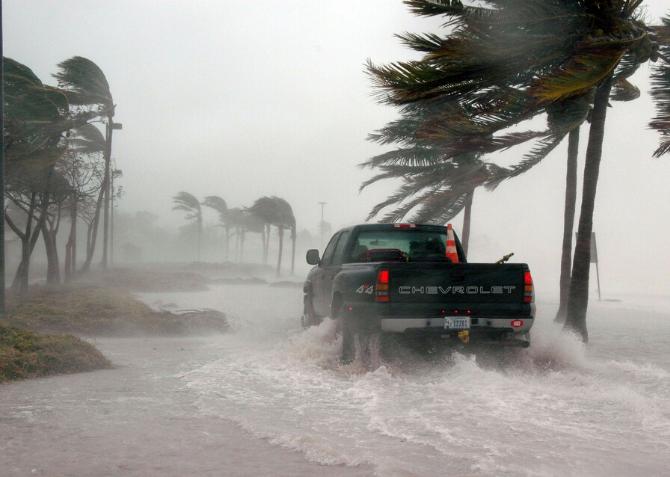 truck driving through hurricane
