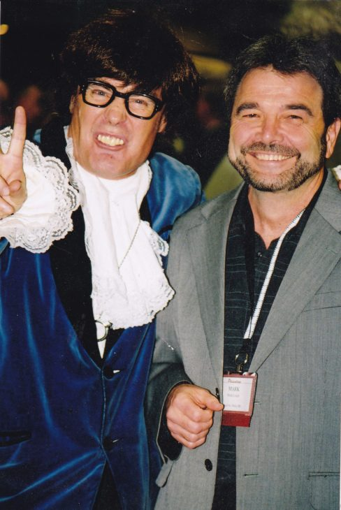 Austin Powers character and smiling man