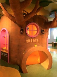 child's play area with tree