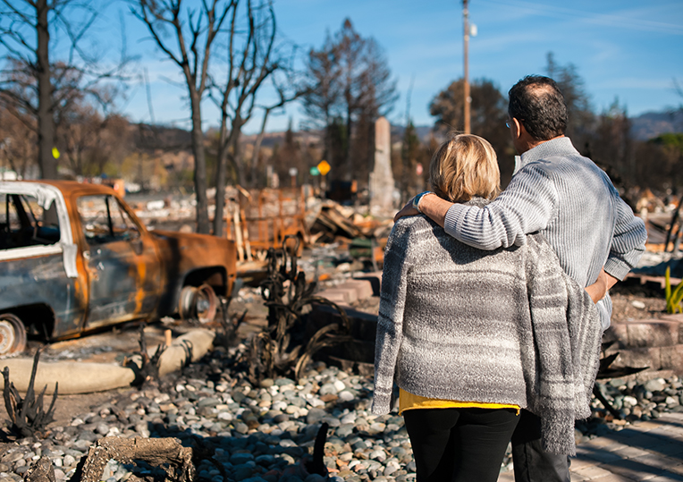 two people surveying wildfire damage